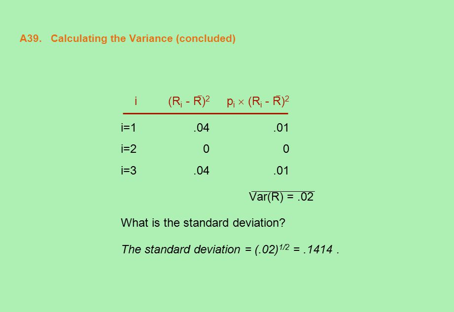 A39. Calculating the Variance (concluded) i (R i - R) 2 p i  (R i - R) 2 i=1.04.01 i=200 i=3.04.01 Var(R) =.02 What is the standard deviation? The st
