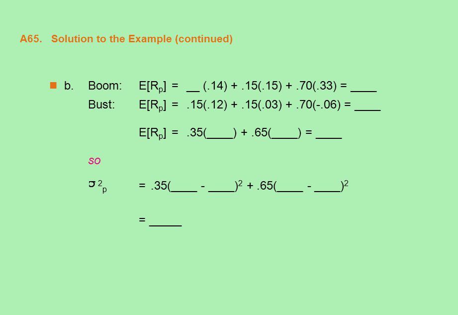 A65. Solution to the Example (continued) b.Boom:E[R p ] = __ (.14) +.15(.15) +.70(.33) = ____ Bust:E[R p ] =.15(.12) +.15(.03) +.70(-.06) = ____ E[R p