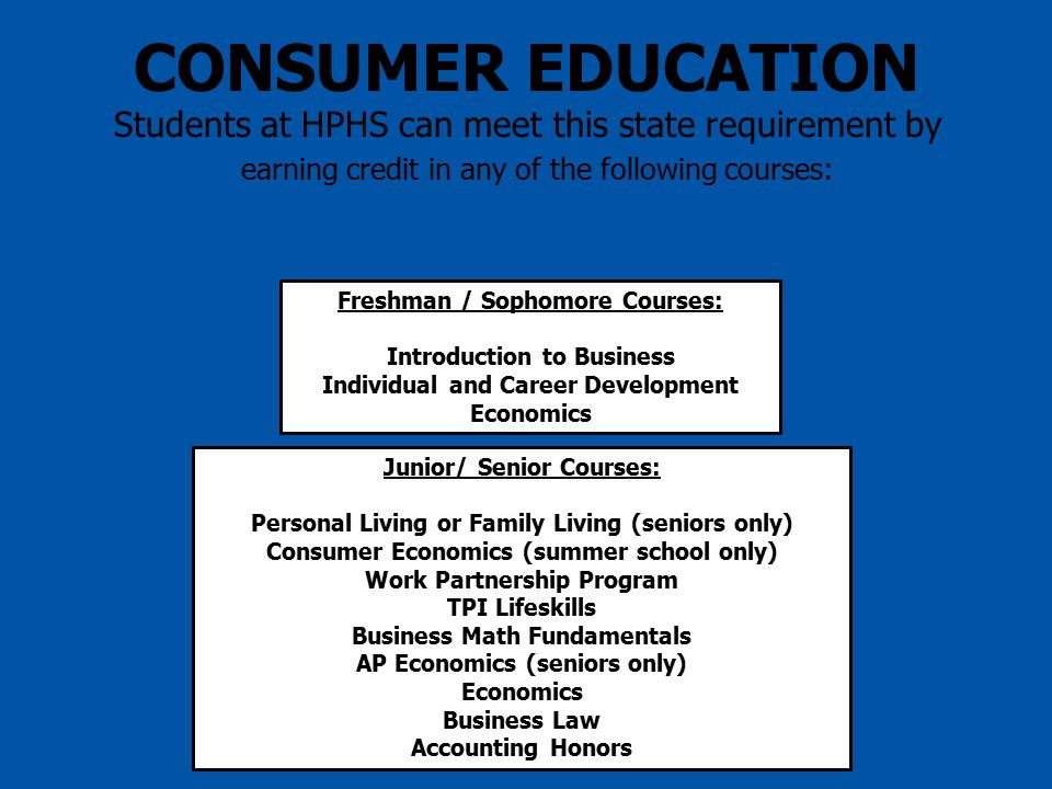 CONSUMER EDUCATION Students at HPHS can meet this state requirement by earning credit in any of the following courses: Freshman / Sophomore Courses: Introduction to Business Individual and Career Development Economics Junior/ Senior Courses: Personal Living or Family Living (seniors only) Consumer Economics (summer school only) Work Partnership Program TPI Lifeskills Business Math Fundamentals AP Economics (seniors only) Economics Business Law Accounting Honors