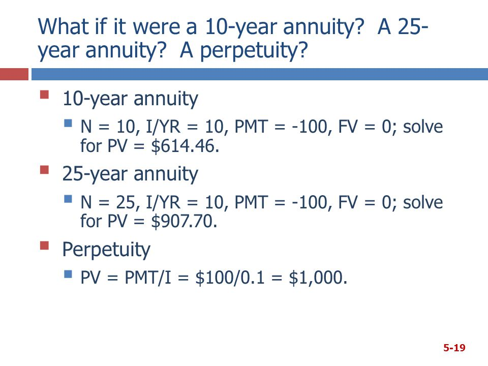 What if it were a 10-year annuity. A 25- year annuity.