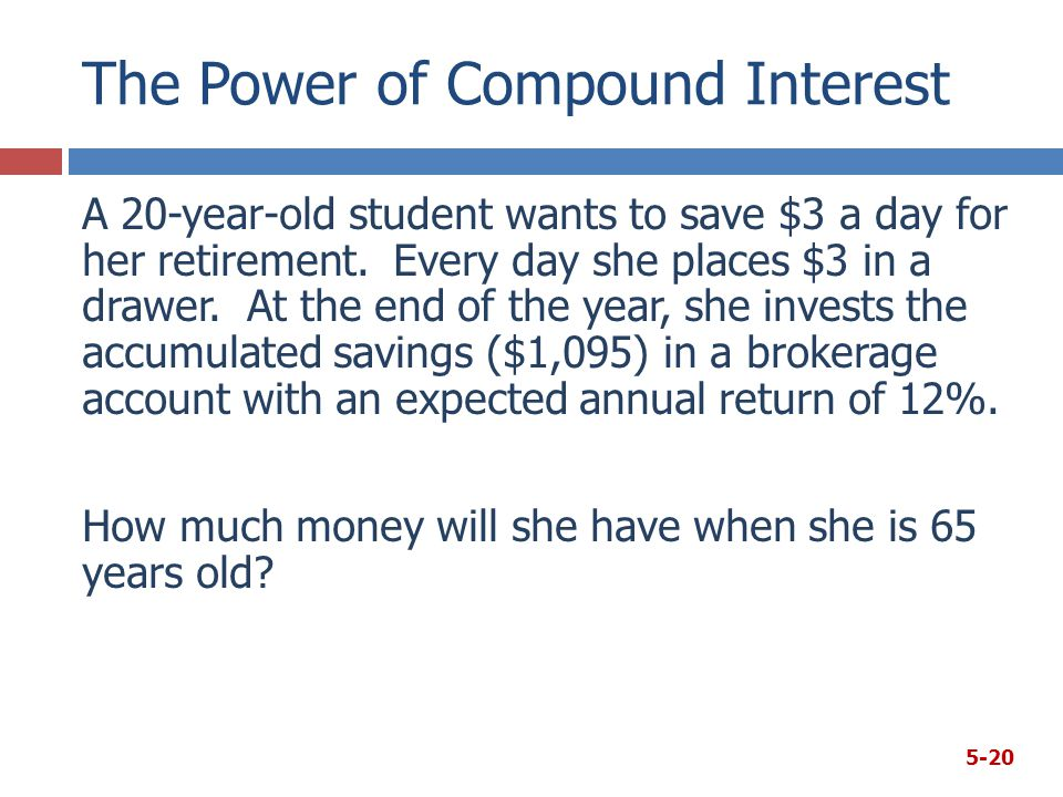 The Power of Compound Interest A 20-year-old student wants to save $3 a day for her retirement.
