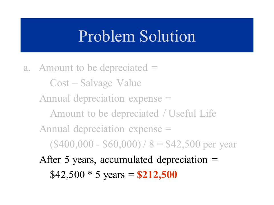 Problem Solution a. Amount to be depreciated = Cost – Salvage Value Annual depreciation expense = Amount to be depreciated / Useful Life Annual deprec