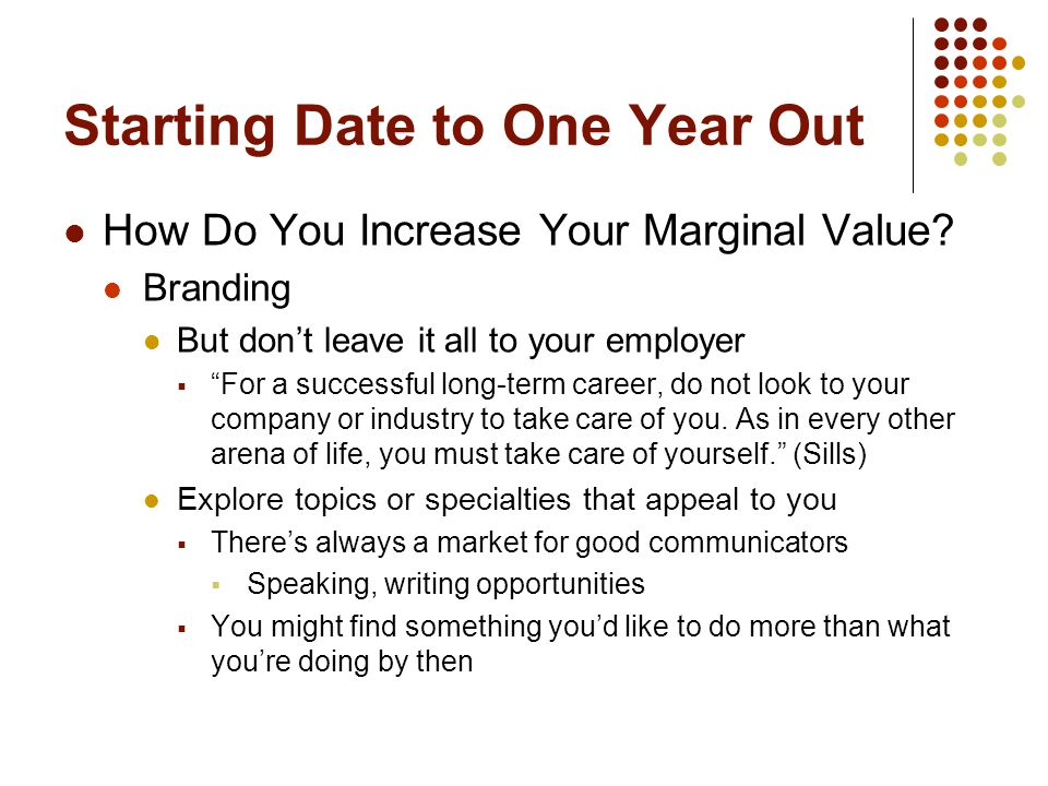 "Starting Date to One Year Out How Do You Increase Your Marginal Value? Branding But don't leave it all to your employer  ""For a successful long-term"