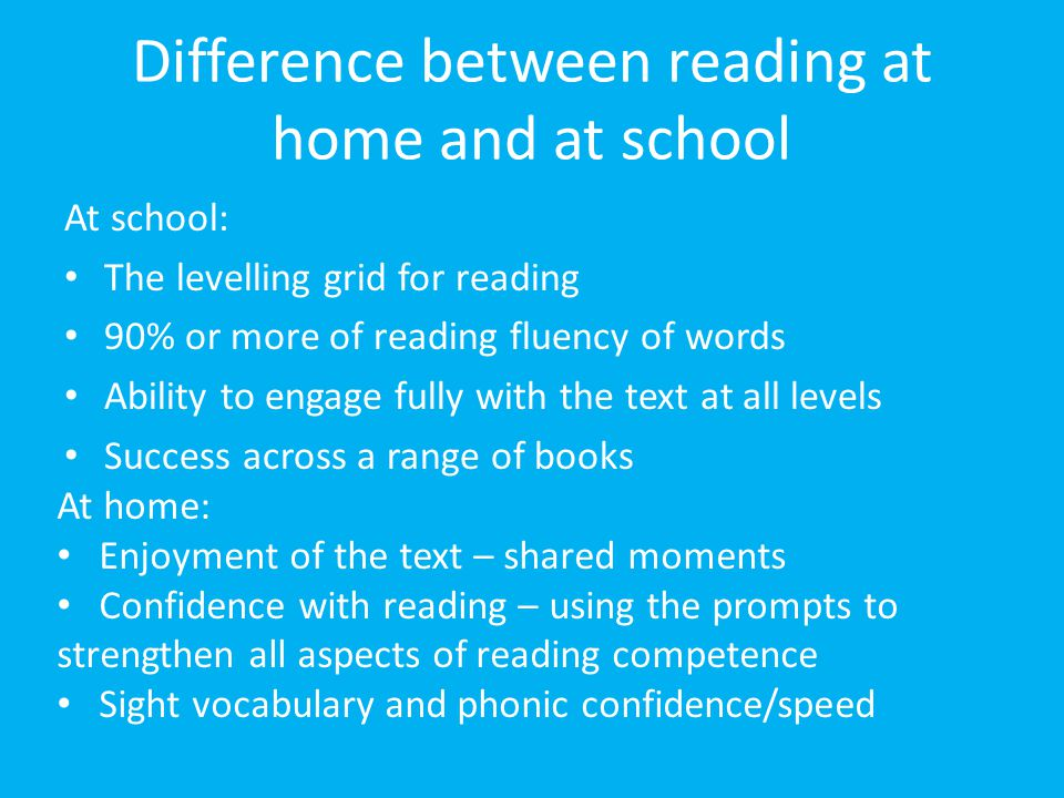 Difference between reading at home and at school At school: The levelling grid for reading 90% or more of reading fluency of words Ability to engage f