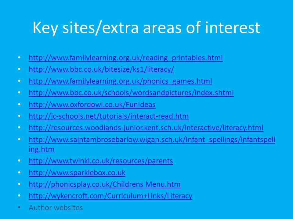 Key sites/extra areas of interest http://www.familylearning.org.uk/reading_printables.html http://www.bbc.co.uk/bitesize/ks1/literacy/ http://www.fami