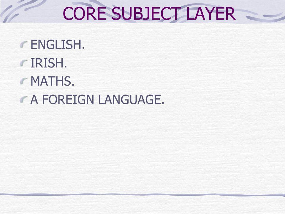 CORE SUBJECT LAYER ENGLISH. IRISH. MATHS. A FOREIGN LANGUAGE.