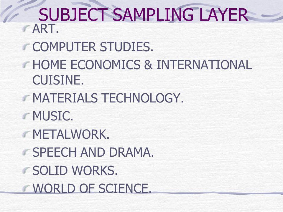 SUBJECT SAMPLING LAYER ART. COMPUTER STUDIES. HOME ECONOMICS & INTERNATIONAL CUISINE.
