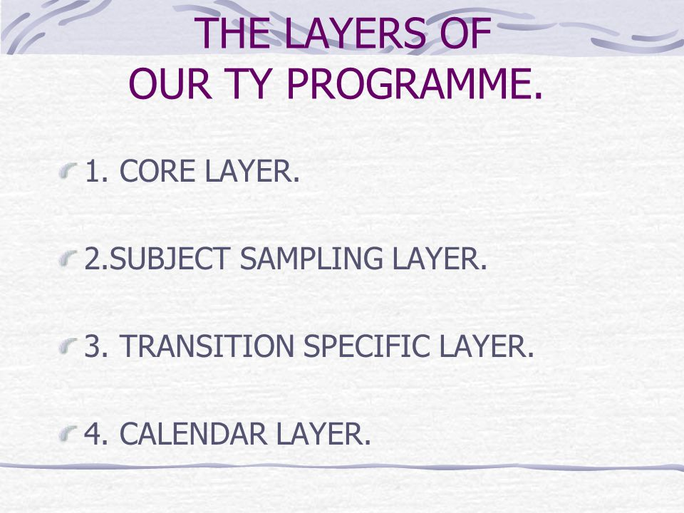 THE LAYERS OF OUR TY PROGRAMME. 1. CORE LAYER. 2.SUBJECT SAMPLING LAYER.