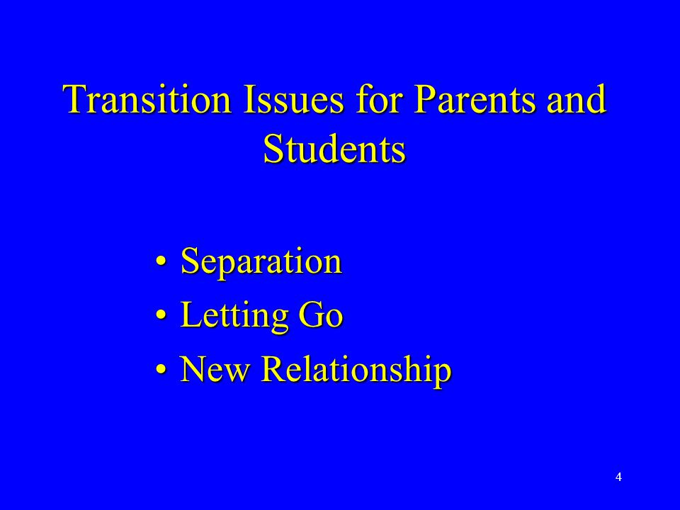 4 Transition Issues for Parents and Students SeparationSeparation Letting GoLetting Go New RelationshipNew Relationship