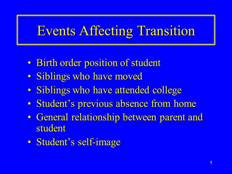 5 Events Affecting Transition Birth order position of studentBirth order position of student Siblings who have movedSiblings who have moved Siblings who have attended collegeSiblings who have attended college Student's previous absence from homeStudent's previous absence from home General relationship between parent and studentGeneral relationship between parent and student Student's self-imageStudent's self-image
