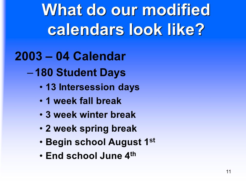11 What do our modified calendars look like.