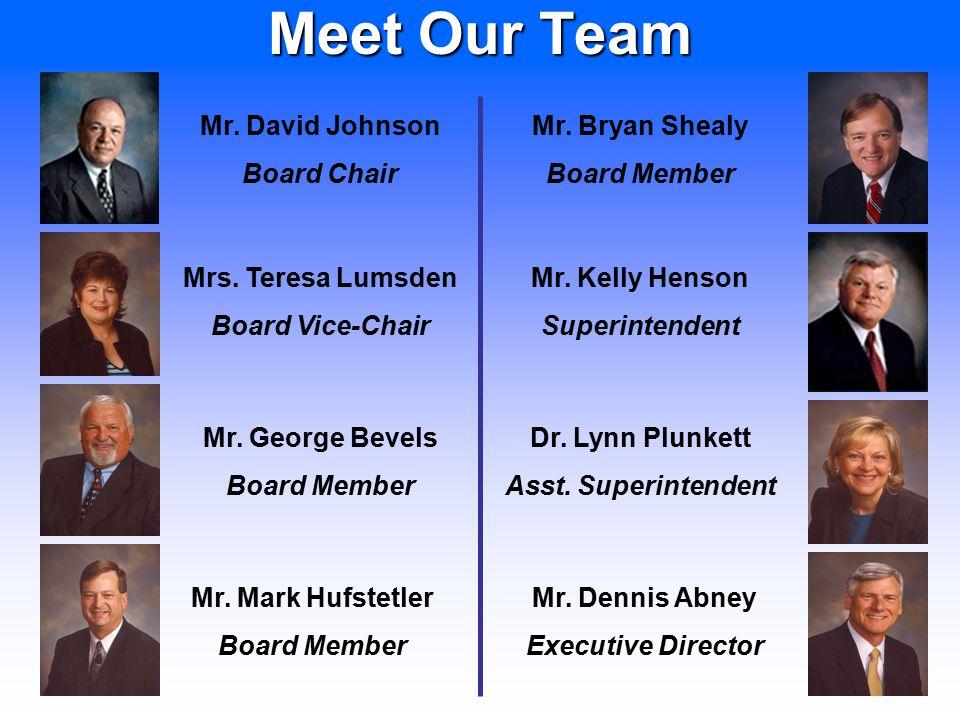 2 Meet Our Team Mr. George Bevels Board Member Mrs. Teresa Lumsden Board Vice-Chair Mr. David Johnson Board Chair Mr. Mark Hufstetler Board Member Mr.