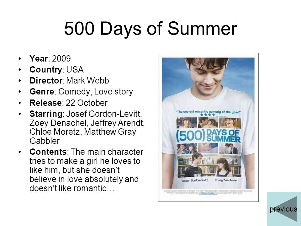 500 Days of Summer Year: 2009 Country: USA Director: Mark Webb Genre: Comedy, Love story Release: 22 October Starring: Josef Gordon-Levitt, Zoey Denac