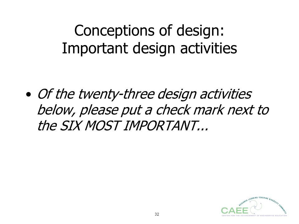 32 Conceptions of design: Important design activities Of the twenty-three design activities below, please put a check mark next to the SIX MOST IMPORT