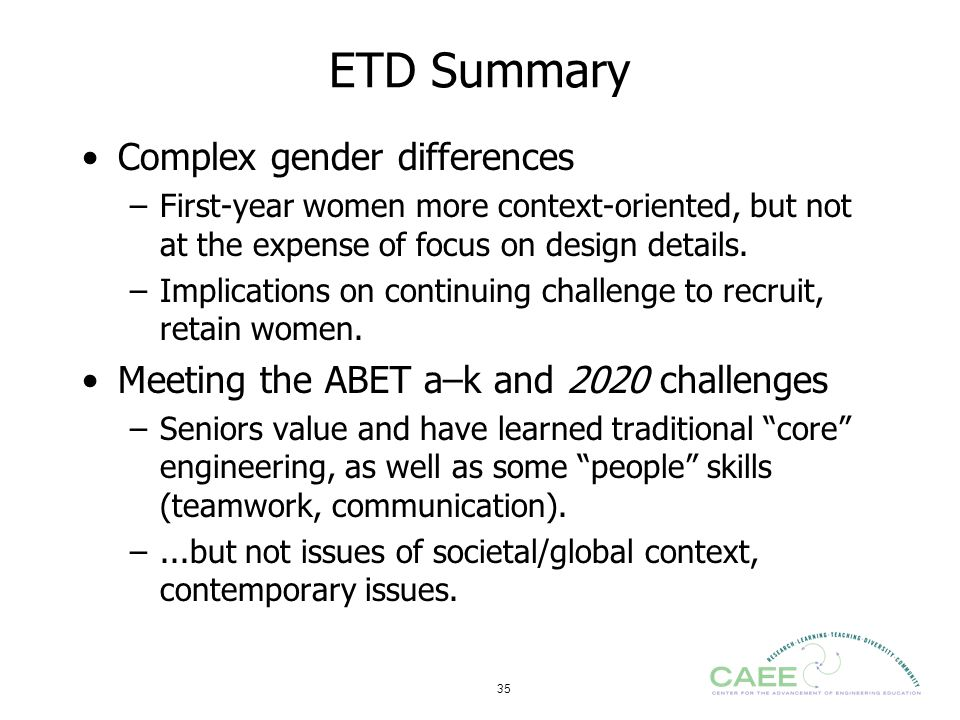 35 ETD Summary Complex gender differences –First-year women more context-oriented, but not at the expense of focus on design details. –Implications on