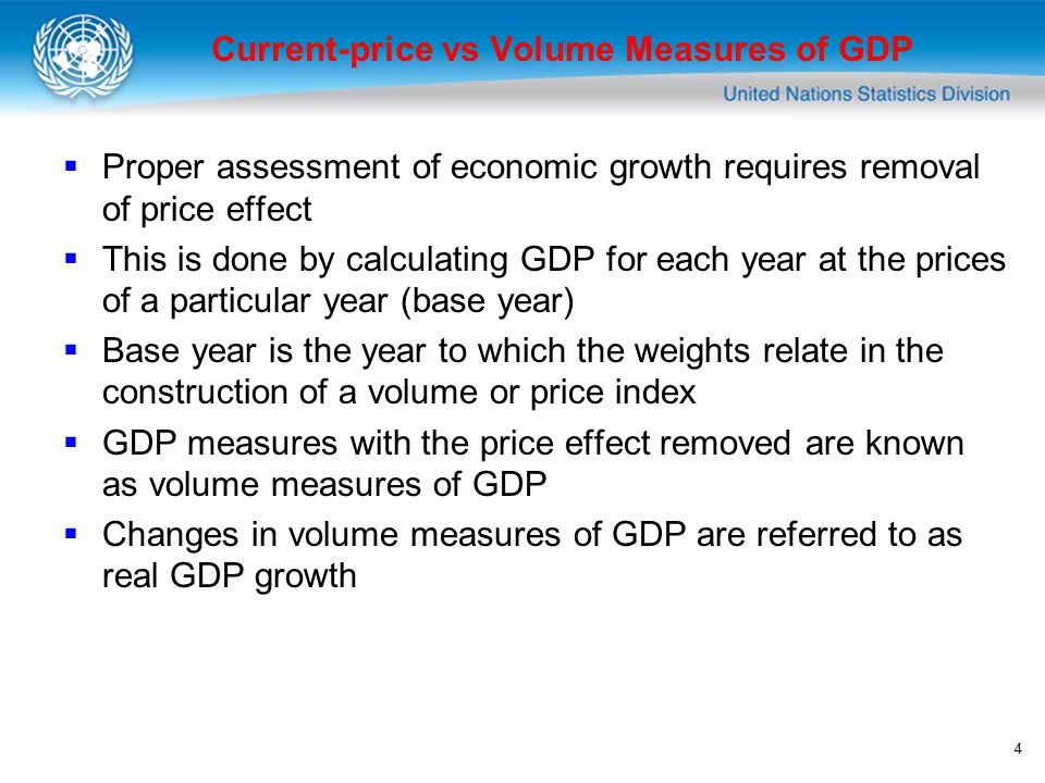 4 Current-price vs Volume Measures of GDP  Proper assessment of economic growth requires removal of price effect  This is done by calculating GDP for each year at the prices of a particular year (base year)  Base year is the year to which the weights relate in the construction of a volume or price index  GDP measures with the price effect removed are known as volume measures of GDP  Changes in volume measures of GDP are referred to as real GDP growth