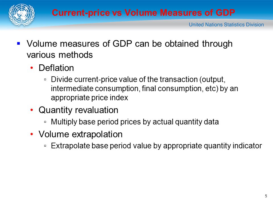 5 Current-price vs Volume Measures of GDP  Volume measures of GDP can be obtained through various methods Deflation ▫Divide current-price value of the transaction (output, intermediate consumption, final consumption, etc) by an appropriate price index Quantity revaluation ▫Multiply base period prices by actual quantity data Volume extrapolation ▫Extrapolate base period value by appropriate quantity indicator