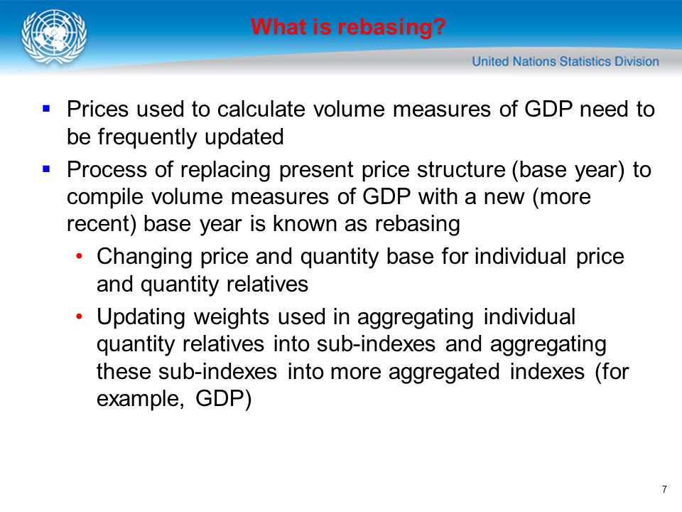7 What is rebasing?  Prices used to calculate volume measures of GDP need to be frequently updated  Process of replacing present price structure (ba