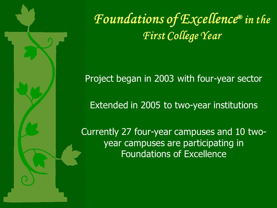 Foundations of Excellence ® in the First College Year Project began in 2003 with four-year sector Extended in 2005 to two-year institutions Currently 27 four-year campuses and 10 two- year campuses are participating in Foundations of Excellence