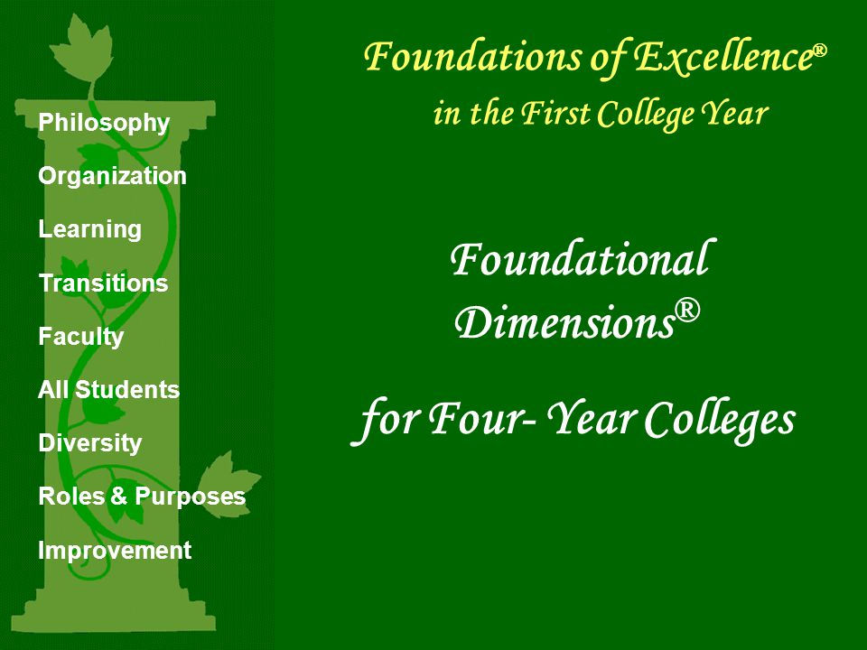 Foundations of Excellence ® in the First College Year Foundational Dimensions ® for Four- Year Colleges Philosophy Organization Learning Transitions Faculty All Students Diversity Roles & Purposes Improvement © 2005 Policy Center