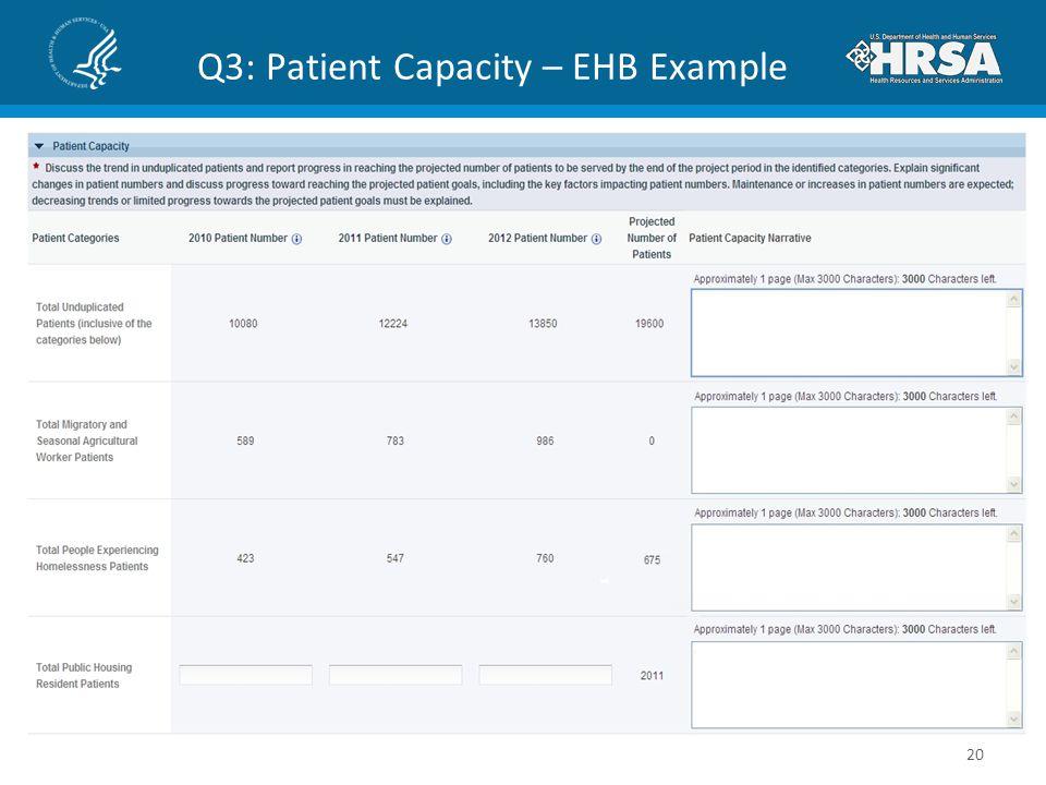 Q3: Patient Capacity – EHB Example 20