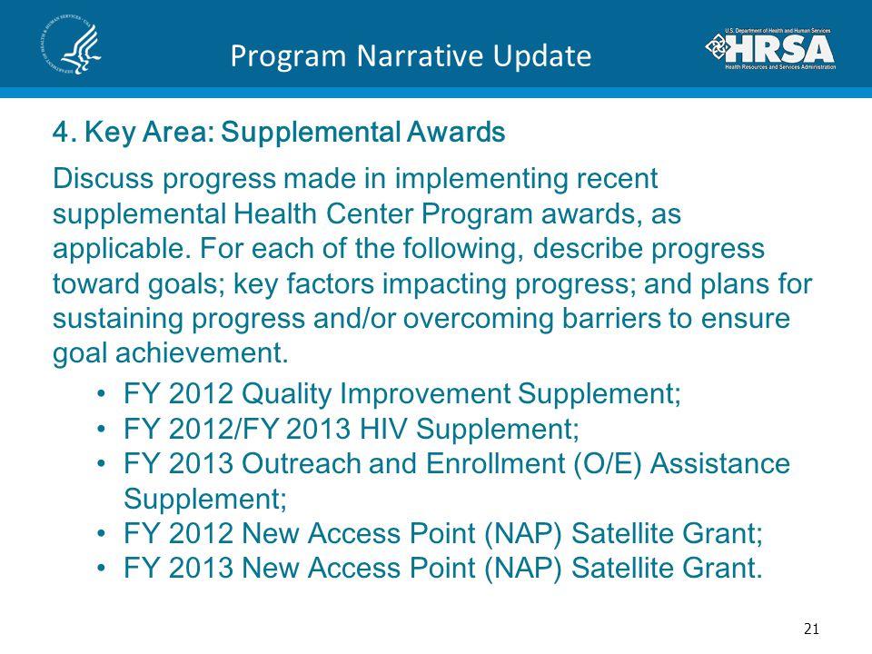 Program Narrative Update 4. Key Area: Supplemental Awards Discuss progress made in implementing recent supplemental Health Center Program awards, as a
