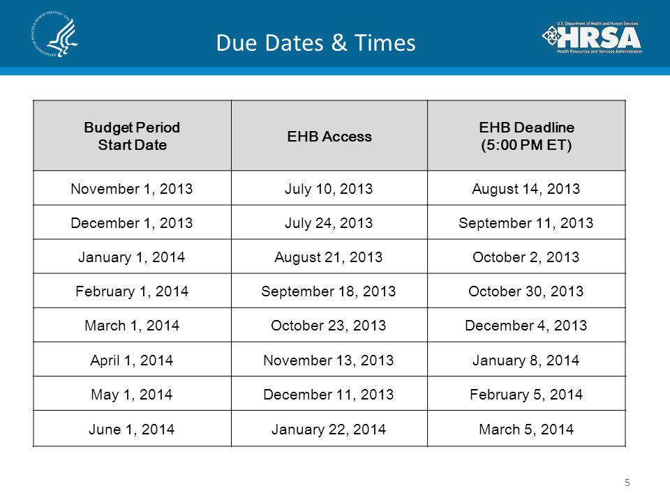Due Dates & Times 5 Budget Period Start Date EHB Access EHB Deadline (5:00 PM ET) November 1, 2013July 10, 2013August 14, 2013 December 1, 2013July 24