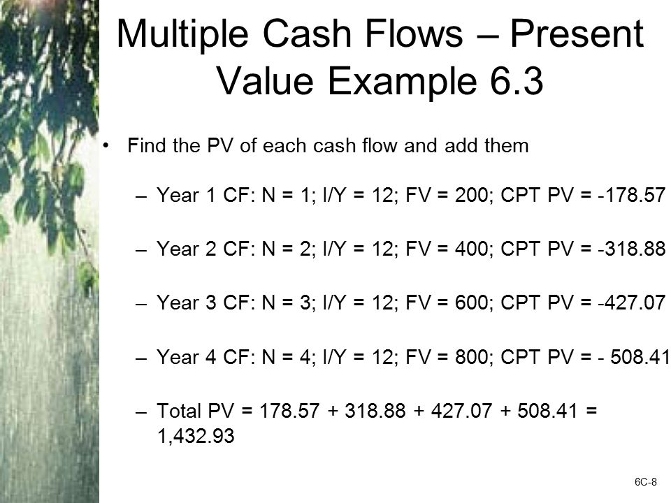 Pure Discount Loans – Example 6.12 Treasury bills are excellent examples of pure discount loans.