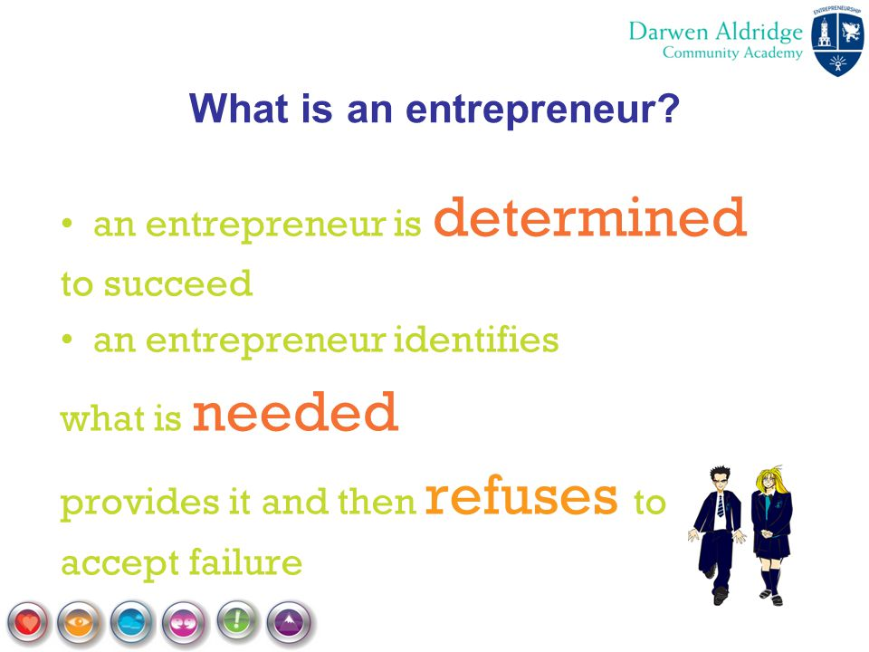 What is an entrepreneur? an entrepreneur is determined to succeed an entrepreneur identifies what is needed provides it and then refuses to accept fai