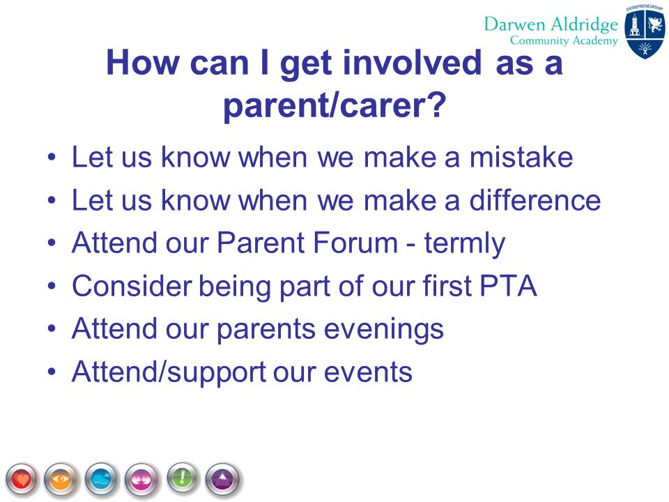 How can I get involved as a parent/carer? Let us know when we make a mistake Let us know when we make a difference Attend our Parent Forum - termly Co