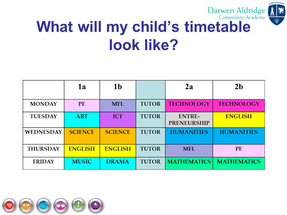 What will my child's timetable look like?