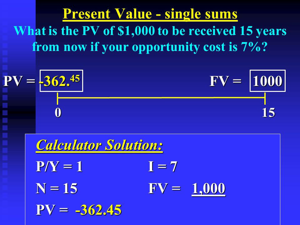 Calculator Solution: Calculator Solution: P/Y = 1I = 7 P/Y = 1I = 7 N = 15 FV = 1,000 N = 15 FV = 1,000 PV = -362.45 PV = -362.45 Present Value - single sums What is the PV of $1,000 to be received 15 years from now if your opportunity cost is 7%.