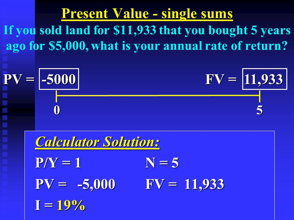 Calculator Solution: Calculator Solution: P/Y = 1N = 5 P/Y = 1N = 5 PV = -5,000 FV = 11,933 PV = -5,000 FV = 11,933 I = 19% I = 19% 0 5 0 5 PV = -5000 FV = 11,933 Present Value - single sums If you sold land for $11,933 that you bought 5 years ago for $5,000, what is your annual rate of return