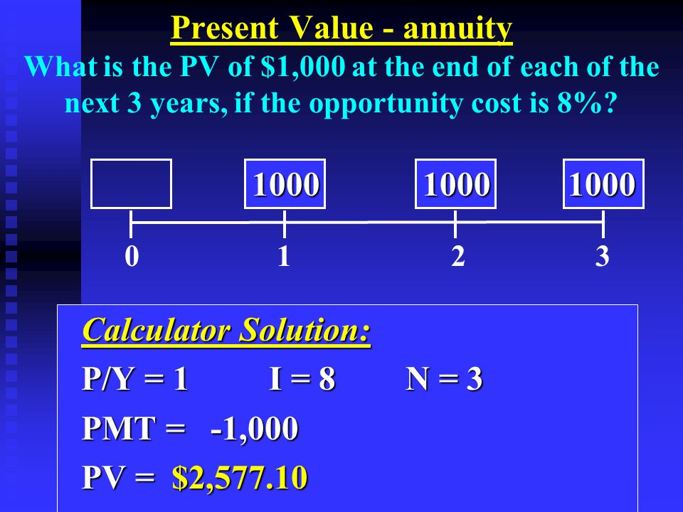 Calculator Solution: Calculator Solution: P/Y = 1I = 8N = 3 P/Y = 1I = 8N = 3 PMT = -1,000 PMT = -1,000 PV = $2,577.10 PV = $2,577.10 0 1 2 3 10001000 1000 10001000 1000 Present Value - annuity What is the PV of $1,000 at the end of each of the next 3 years, if the opportunity cost is 8%?