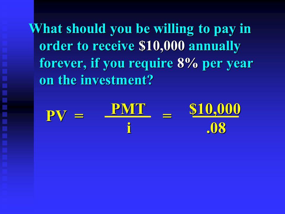 PMT $10,000 PMT $10,000 i.08 i.08 PV = =