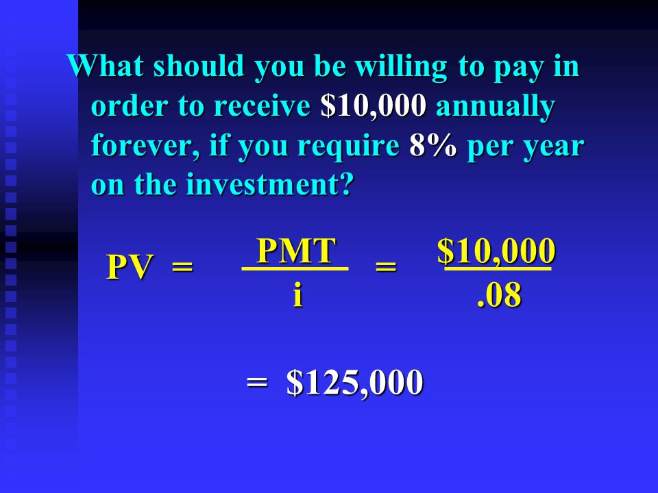What should you be willing to pay in order to receive $10,000 annually forever, if you require 8% per year on the investment.
