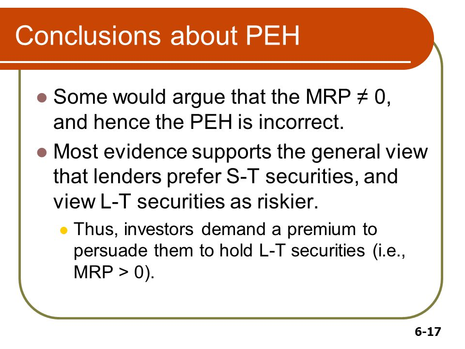 6-17 Conclusions about PEH Some would argue that the MRP ≠ 0, and hence the PEH is incorrect.