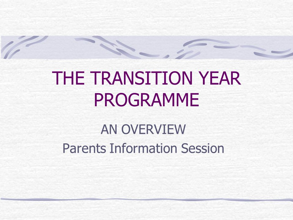 THE TRANSITION YEAR PROGRAMME AN OVERVIEW Parents Information Session