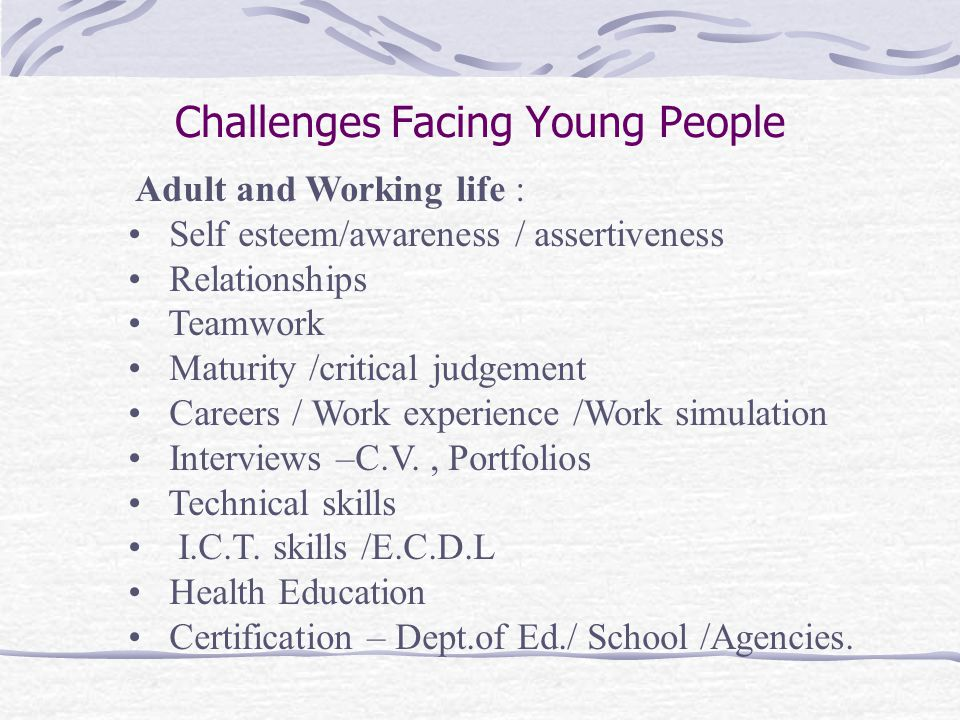Challenges Facing Young People Adult and Working life : Self esteem/awareness / assertiveness Relationships Teamwork Maturity /critical judgement Careers / Work experience /Work simulation Interviews –C.V., Portfolios Technical skills I.C.T.
