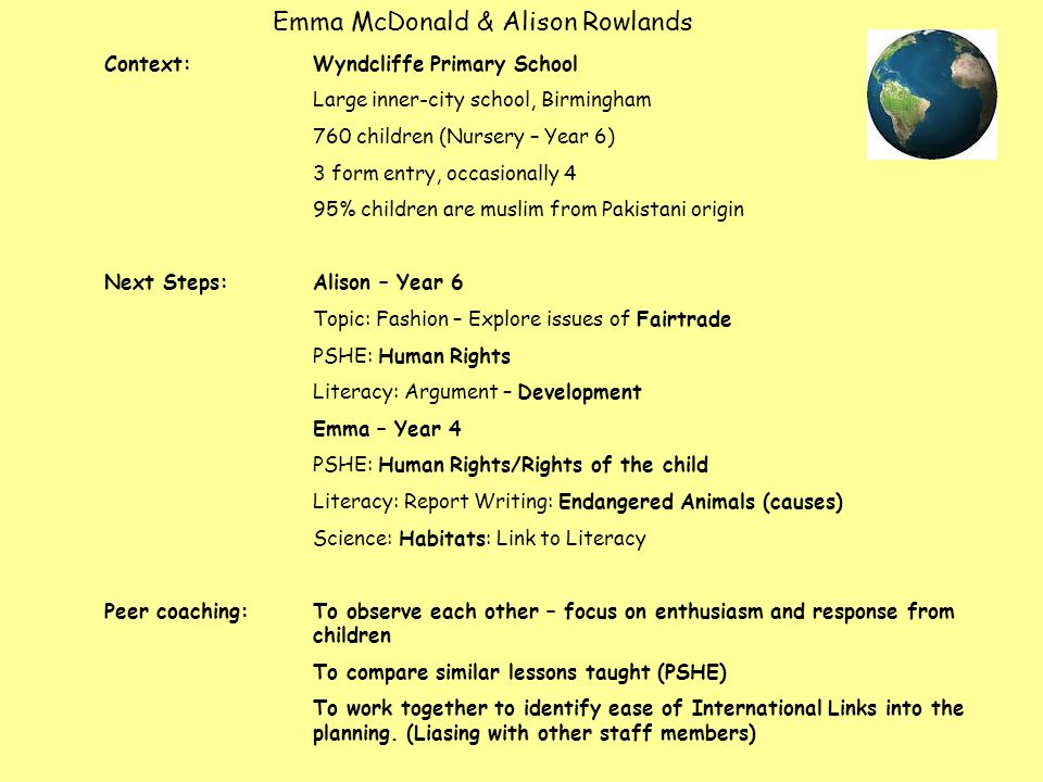 Emma McDonald & Alison Rowlands Context: Wyndcliffe Primary School Large inner-city school, Birmingham 760 children (Nursery – Year 6) 3 form entry, occasionally 4 95% children are muslim from Pakistani origin Next Steps: Alison – Year 6 Topic: Fashion – Explore issues of Fairtrade PSHE: Human Rights Literacy: Argument – Development Emma – Year 4 PSHE: Human Rights/Rights of the child Literacy: Report Writing: Endangered Animals (causes) Science: Habitats: Link to Literacy Peer coaching:To observe each other – focus on enthusiasm and response from children To compare similar lessons taught (PSHE) To work together to identify ease of International Links into the planning.
