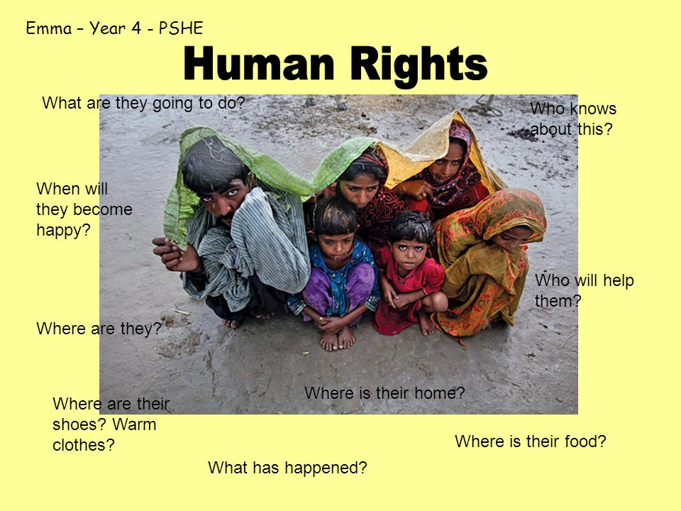 Emma – Year 4 - PSHE Where are they? What has happened? Where is their home? Where is their food? What are they going to do? Who knows about this? Who