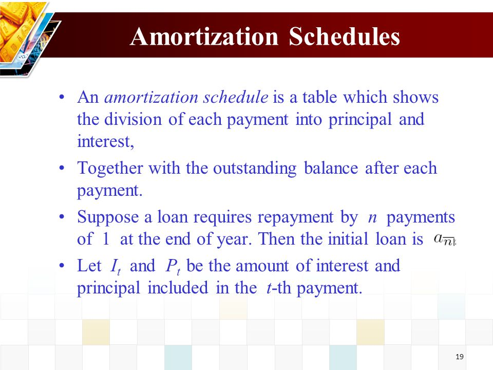 19 Amortization Schedules An amortization schedule is a table which shows the division of each payment into principal and interest, Together with the