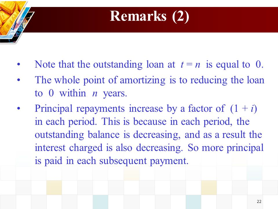 22 Remarks (2) Note that the outstanding loan at t = n is equal to 0. The whole point of amortizing is to reducing the loan to 0 within n years. Princ