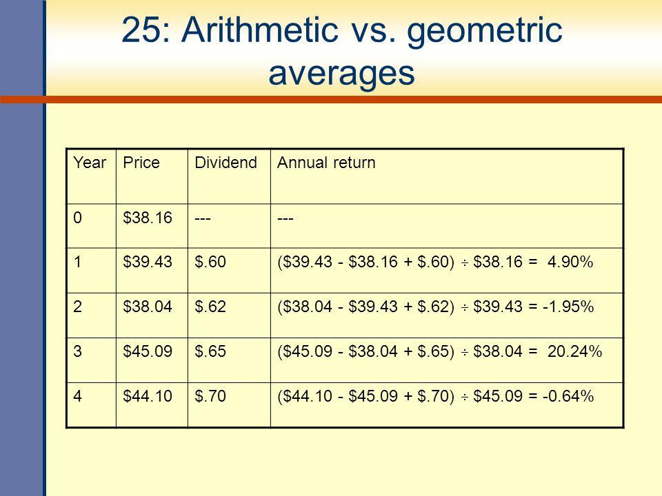 25: Arithmetic vs. geometric averages YearPriceDividendAnnual return 0$38.16--- 1$39.43$.60 ($39.43 - $38.16 + $.60)  $38.16 = 4.90% 2$38.04$.62 ($38