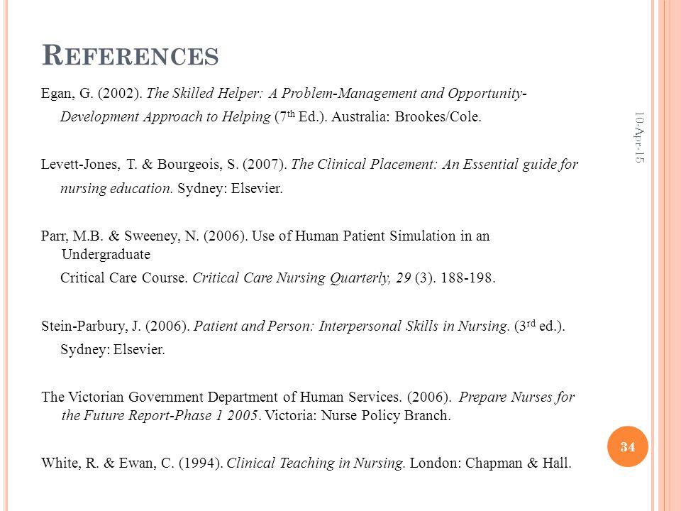 R EFERENCES Egan, G. (2002).