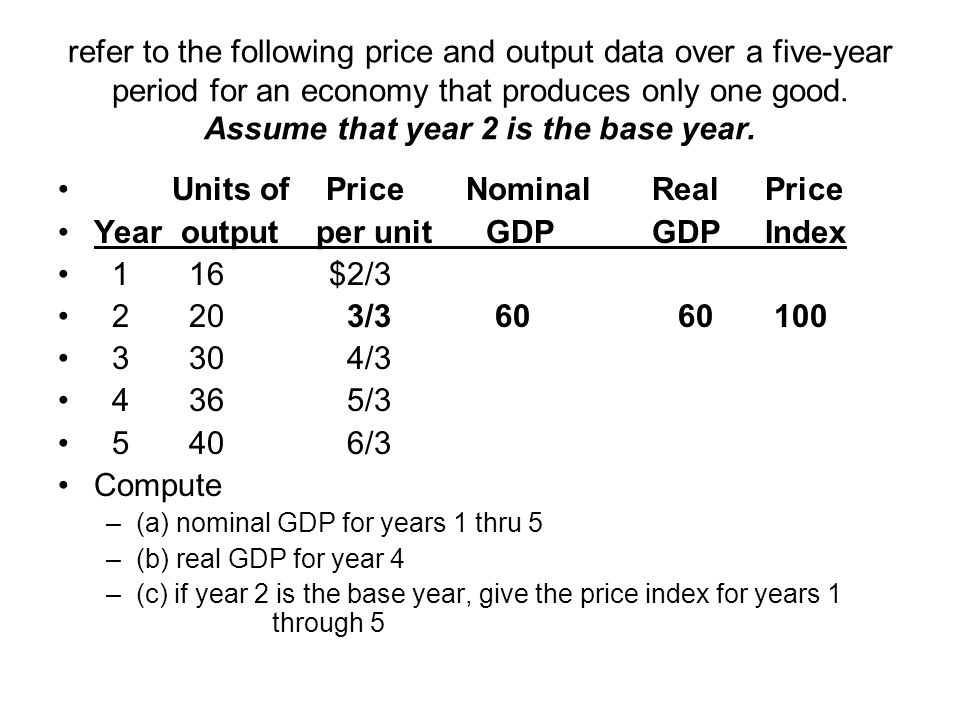 refer to the following price and output data over a five-year period for an economy that produces only one good. Assume that year 2 is the base year.