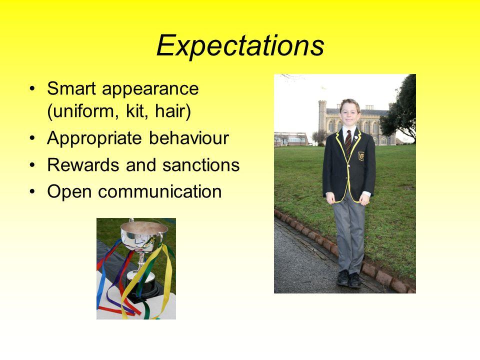 Expectations Smart appearance (uniform, kit, hair) Appropriate behaviour Rewards and sanctions Open communication