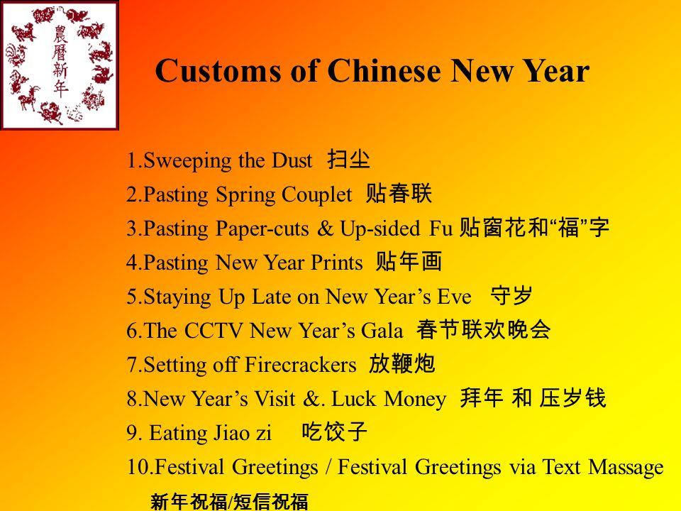 Festival Greetings 新年祝福语 恭贺新禧 (gōnghé xīnxǐ) Happy New Yew 吉祥如意 (jíxiáng rúyì) Everything Goes Well 恭喜发财 (gōngxǐ fācái) Wish You Prosperity 年年有余 (niánnián yǒuyú) Surplus Year After Year 岁岁平安 (suìsuì píng' an) Pearce All Year Round 新春大吉 (xīnchūn dàjí) Good Luck in the New Year