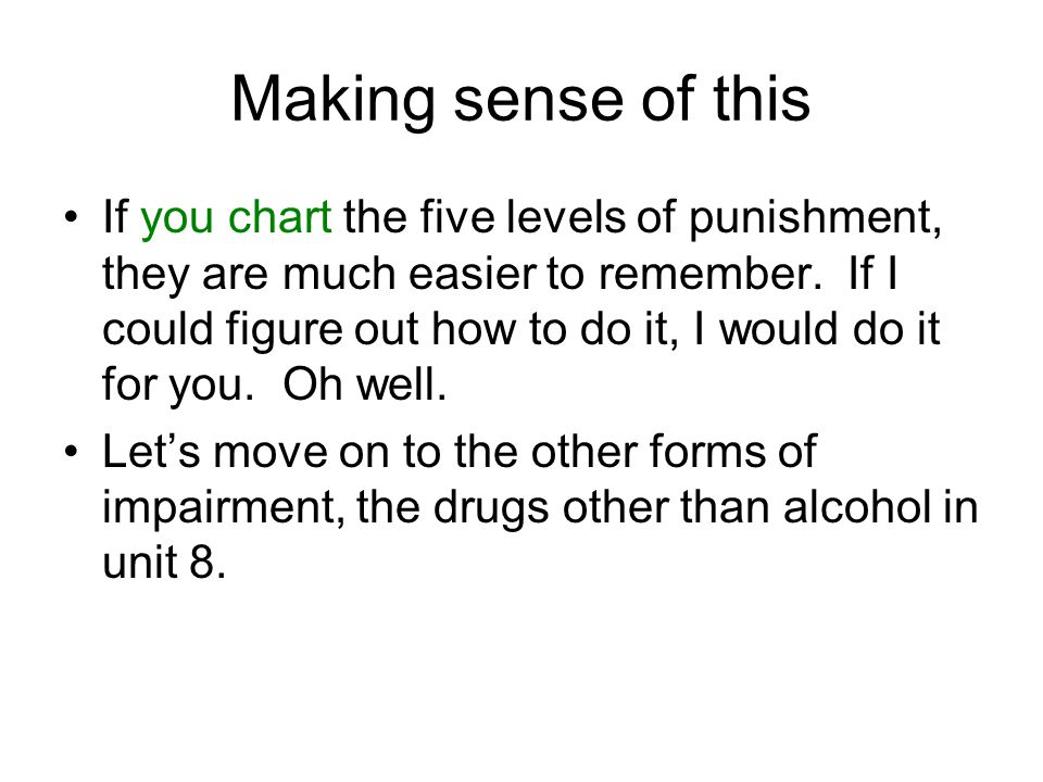 Making sense of this If you chart the five levels of punishment, they are much easier to remember.