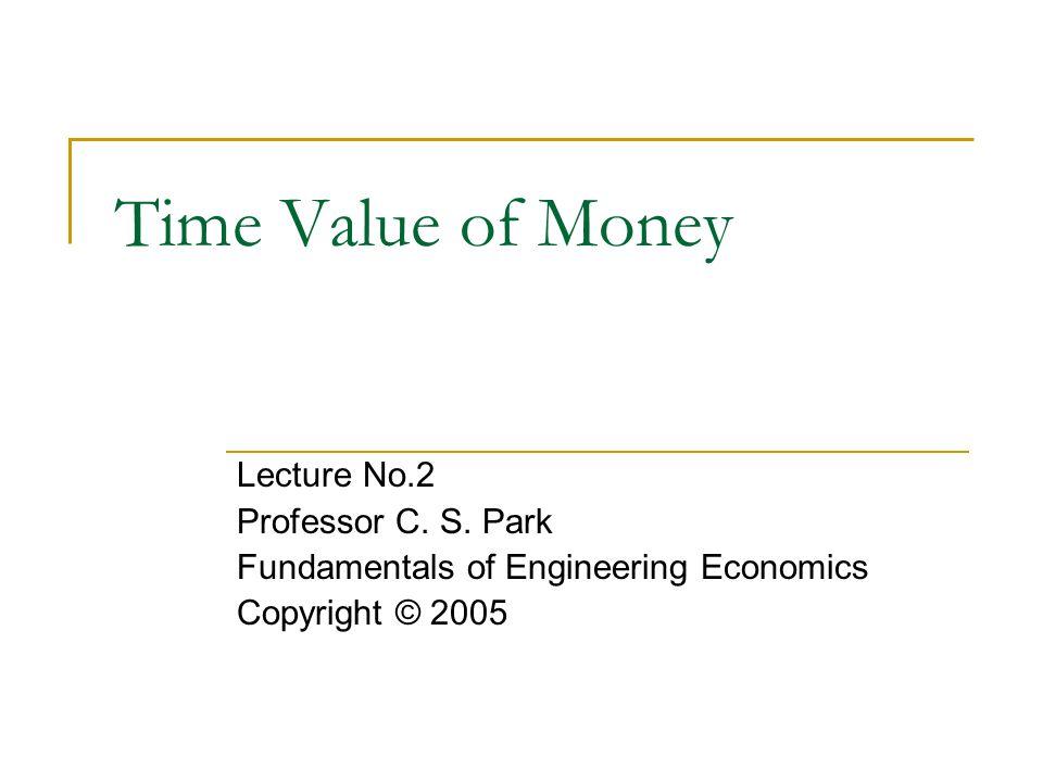 Time Value of Money Lecture No.2 Professor C. S. Park Fundamentals of Engineering Economics Copyright © 2005